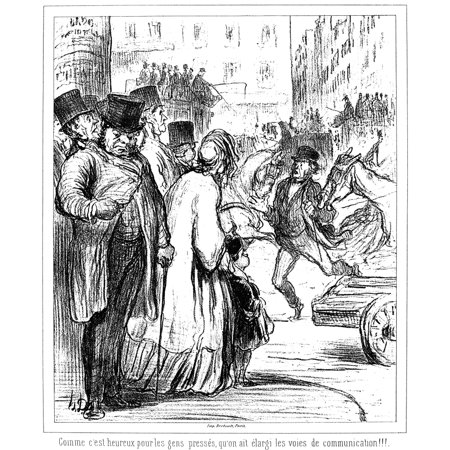 Daumier Paris 1862 Nthe New Paris How Fortunate It Is For People In A Hurry That The Thoroughfares Have Been Widened Lithograph 1862 By Honore Daumier Rolled Canvas Art     24 X 36