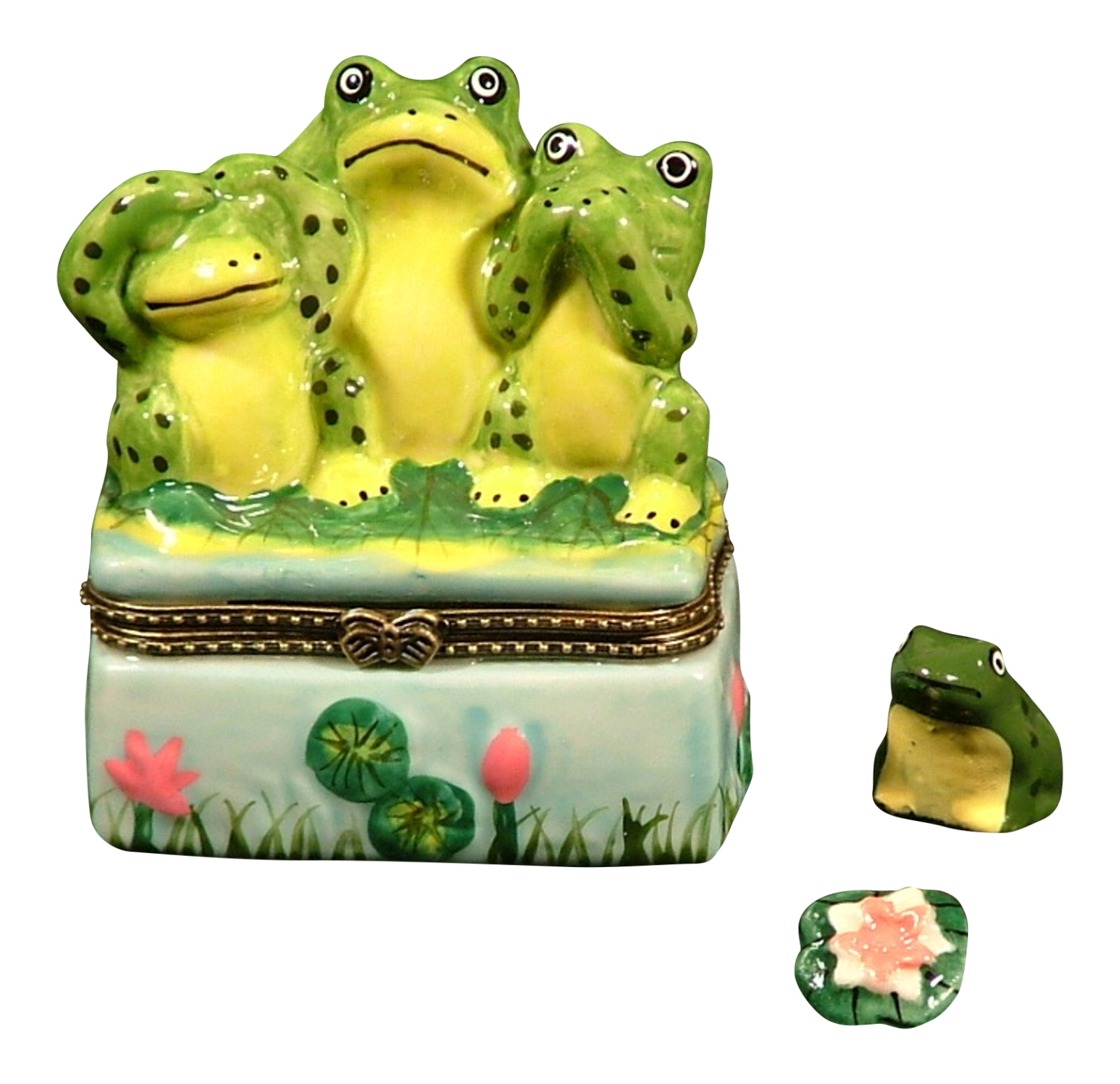 See No Hear No Say No Evil Frogs Trinket Box phb DCI