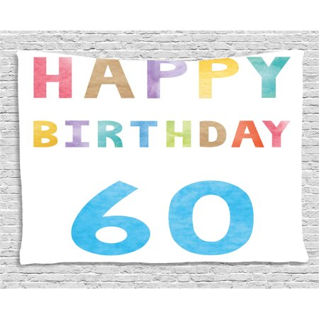 60th Birthday Decorations Tapestry Vintage Party For Elder In Abstract Rainbow Colors Print
