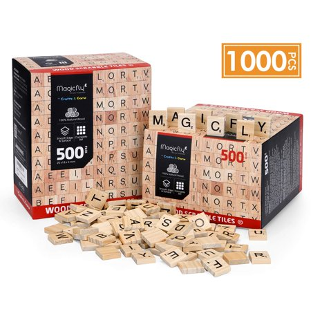 1000Pcs/set Scrabble Tiles, Wood Craft Scrabble Letters Word Tiles Perfect for Crafting Projects e.g. artworks, Picture Frames, Wedding Name Tags, Home Decoration (Scrabble Letters For Crafts)