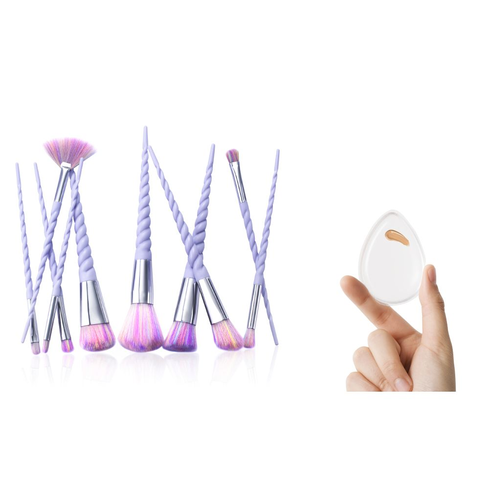 Zodaca 10 Pcs Purple Spiral Handle Brush Kit Set w/Raindow Bristles and Clear Silicone Sponge