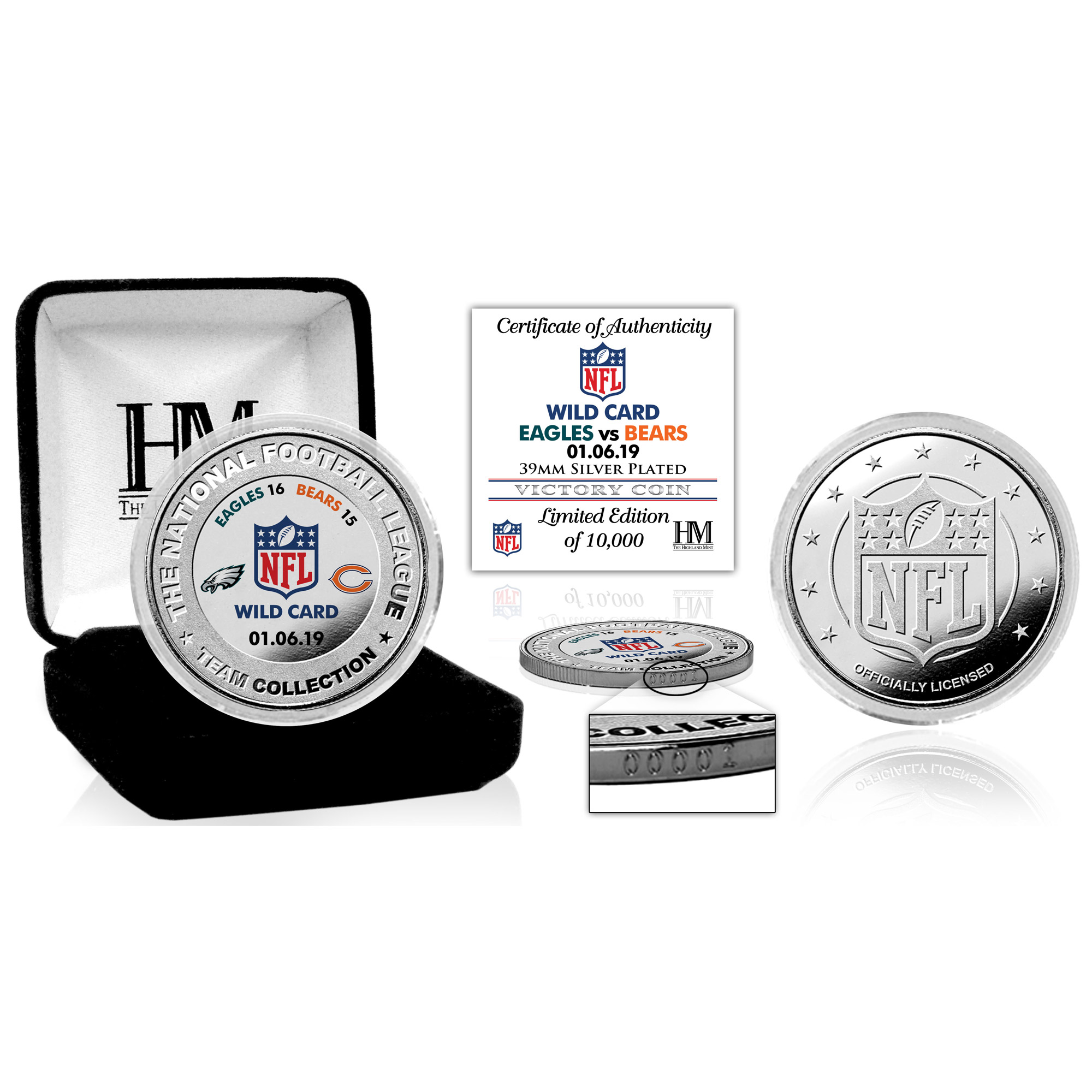 Philadelphia Eagles Highland Mint 2018 NFL Playoffs Wild Card Victory Silver Mint Coin - No Size