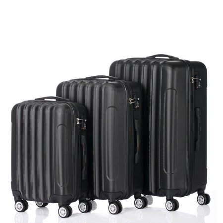 3 Piece Nested Spinner Suitcase Luggage Set With TSA Lock (Safe Skies Tsa Recognized Locking Luggage Strap)