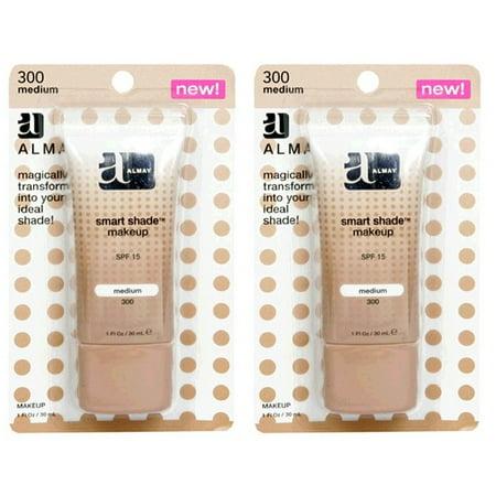 Almay Smart Shade Makeup with SPF 15, Medium 300, 1 Oz (Pack of 2) + Schick Slim Twin ST for Sensitive (Best Makeup Base For Sensitive Skin)