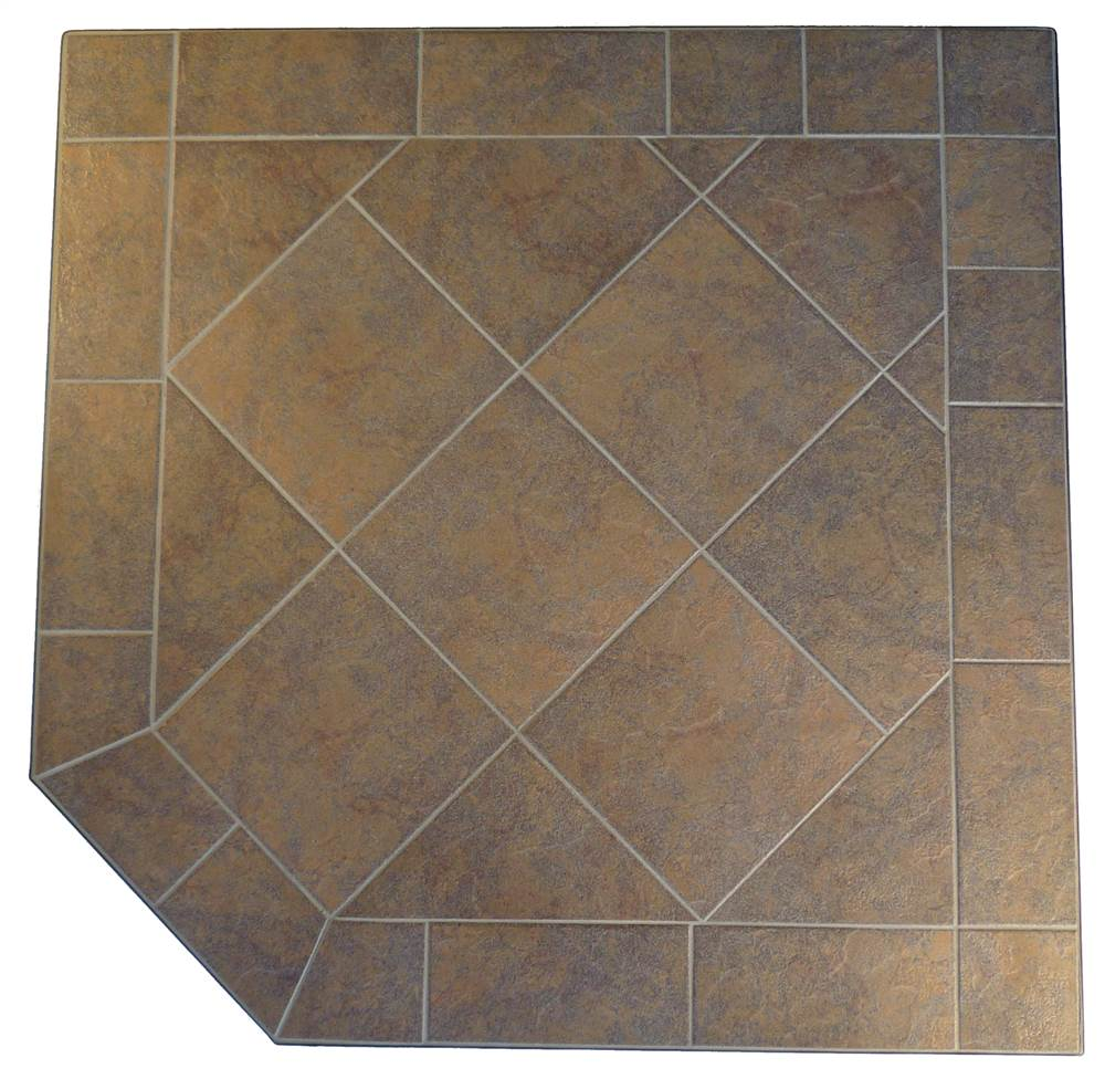 Kalvin International SP3-1912 48 x 48 Corner Hearth Pad - Standard Edge - Brown Pastel Tile