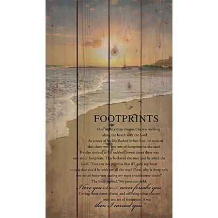 Scene Signs (Footprints in the Sand Beach Scene 24 x 14 Wood Pallet Design Wall Art Sign)
