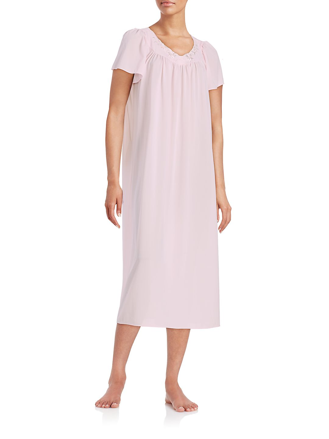 Embroidered Floral Nightgown