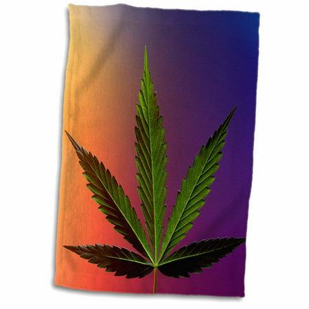 3dRose Serbia, Belgrade. Marijuana leaf, hemp - EU37 RGO0055 - Russell Gordon - Towel, 15 by 22-inch