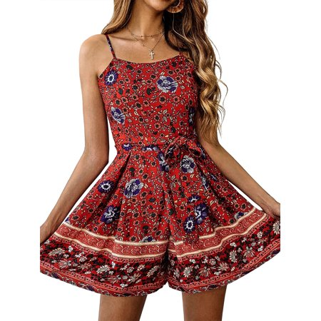 Womens Summer Casual Floral Printed Jumpsuit Spaghetti Strap Adjustable Bowknot High Waist Drawstring Lace-Up Zipper Short Rompers