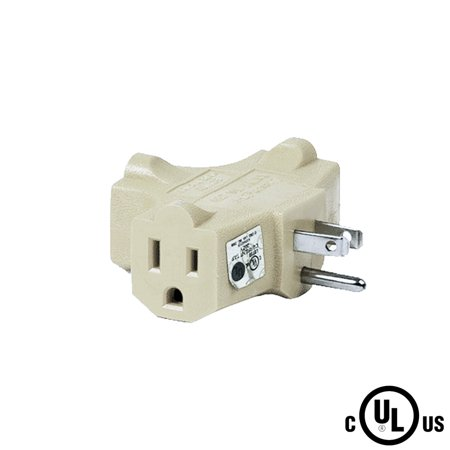 Uninex T-shape 3 Way Outlet Heavy Duty Grounded Wall Plug Tap ...