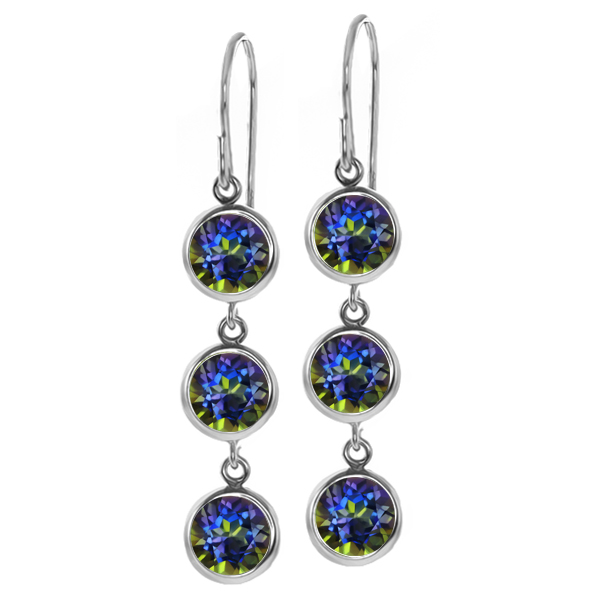 3.60 Ct Round Blue Mystic Topaz 925 Sterling Silver Earrings