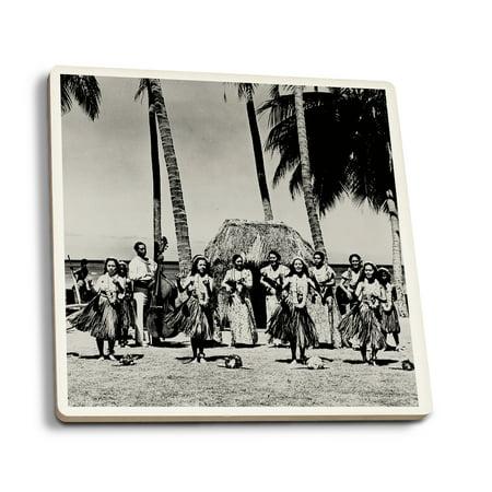 Hawaii - Line of Hula Girls Dancing  Photograph (Set of 4 Ceramic Coasters - Cork-backed, Absorbent)