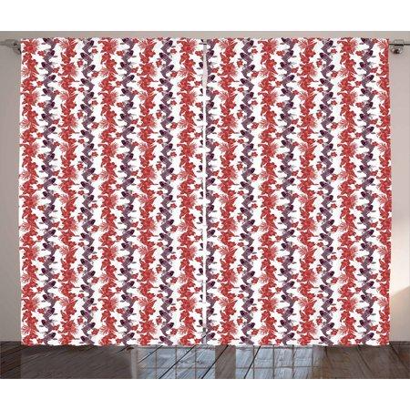 Koi Fish Curtains 2 Panels Set, Hibiscuses Carp Koi Vertebrates in ...