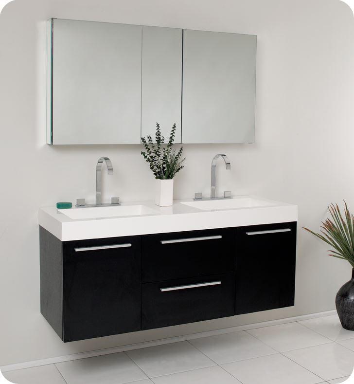 Fresca Opulento 54 Black Modern Double Sink Bathroom Vanity With