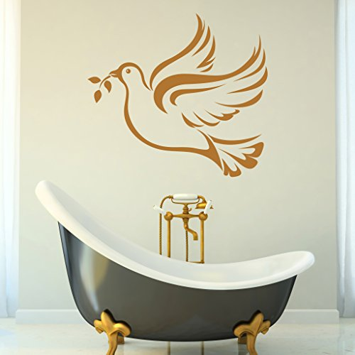 Peace Dove Wall Decal - Wall Sticker, Vinyl Wall Art, Home Decor, Wall Mural - SA3053-16in x 14in-Beige