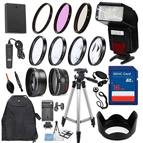 58mm 17 Piece Accessory Kit for Canon EOS Rebel T6, T5, T3, 1300D, 1200D, 1100D DSLRs with Replaceable LP-E10 Battery, Automatic LED Flash, 16GB Memory, HD Filters, Backpack, Auxiliary Lenses & More