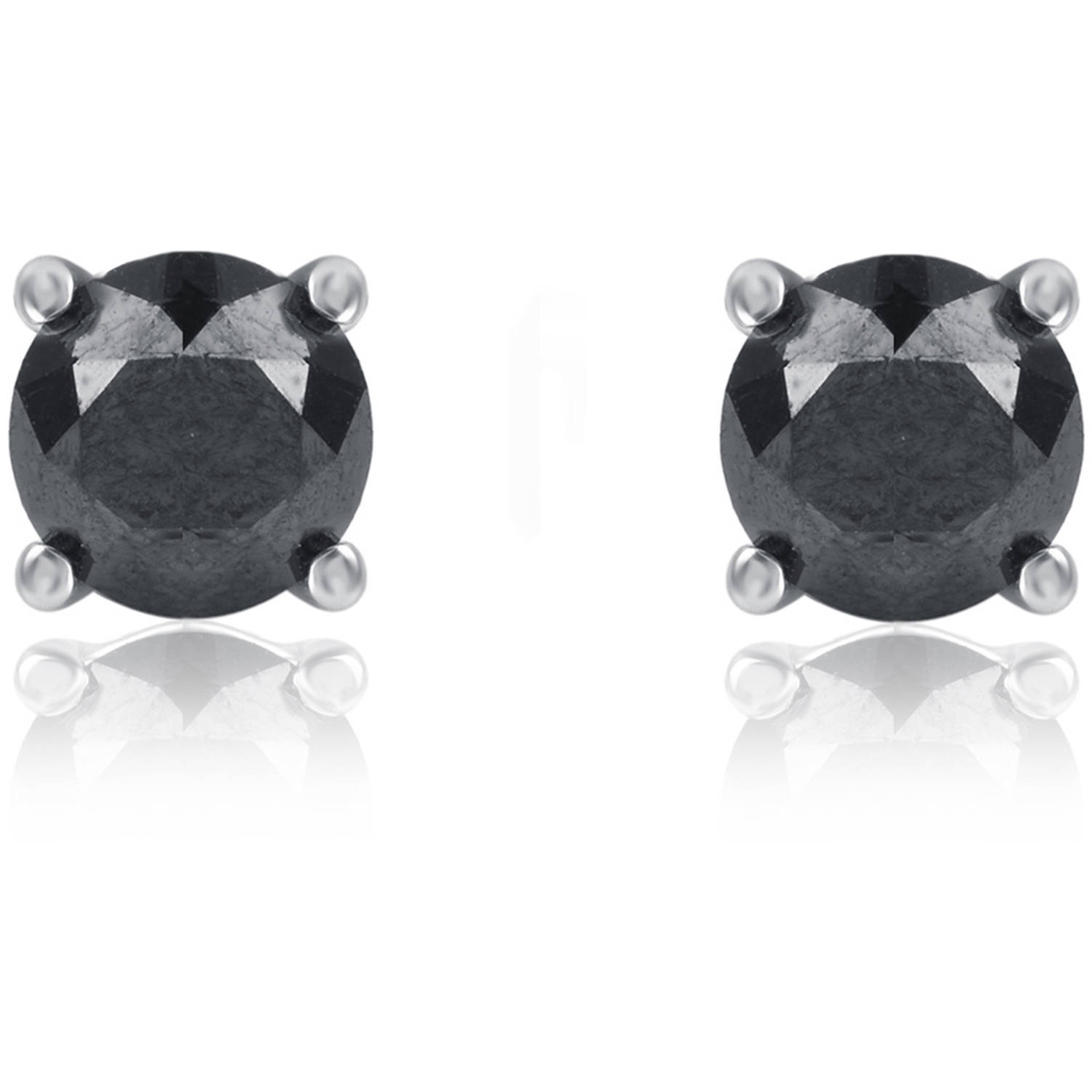 1 Carat Tw Round Black Diamond Sterling Silver Stud Earrings  Walmart