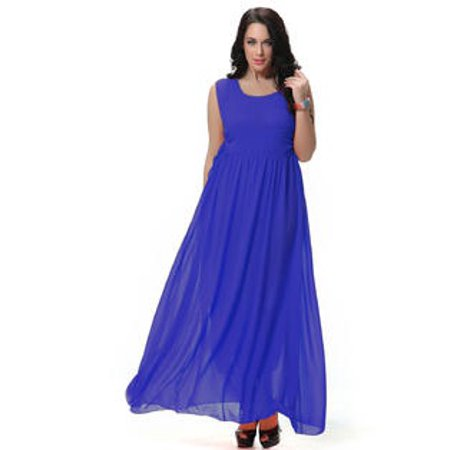 924d30199758 Unomatch - Women's Round Neck Pleated Long Gown Prom Night Dress Blue -  Walmart.com