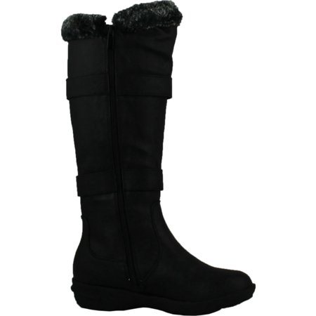 forever aura 43 womens double straps knee high boots winter boots,black,6.5