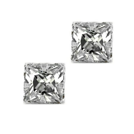 Silver Square Stud - Square CZ Princess Cut Sterling Silver Magnetic Stud Studs 4mm