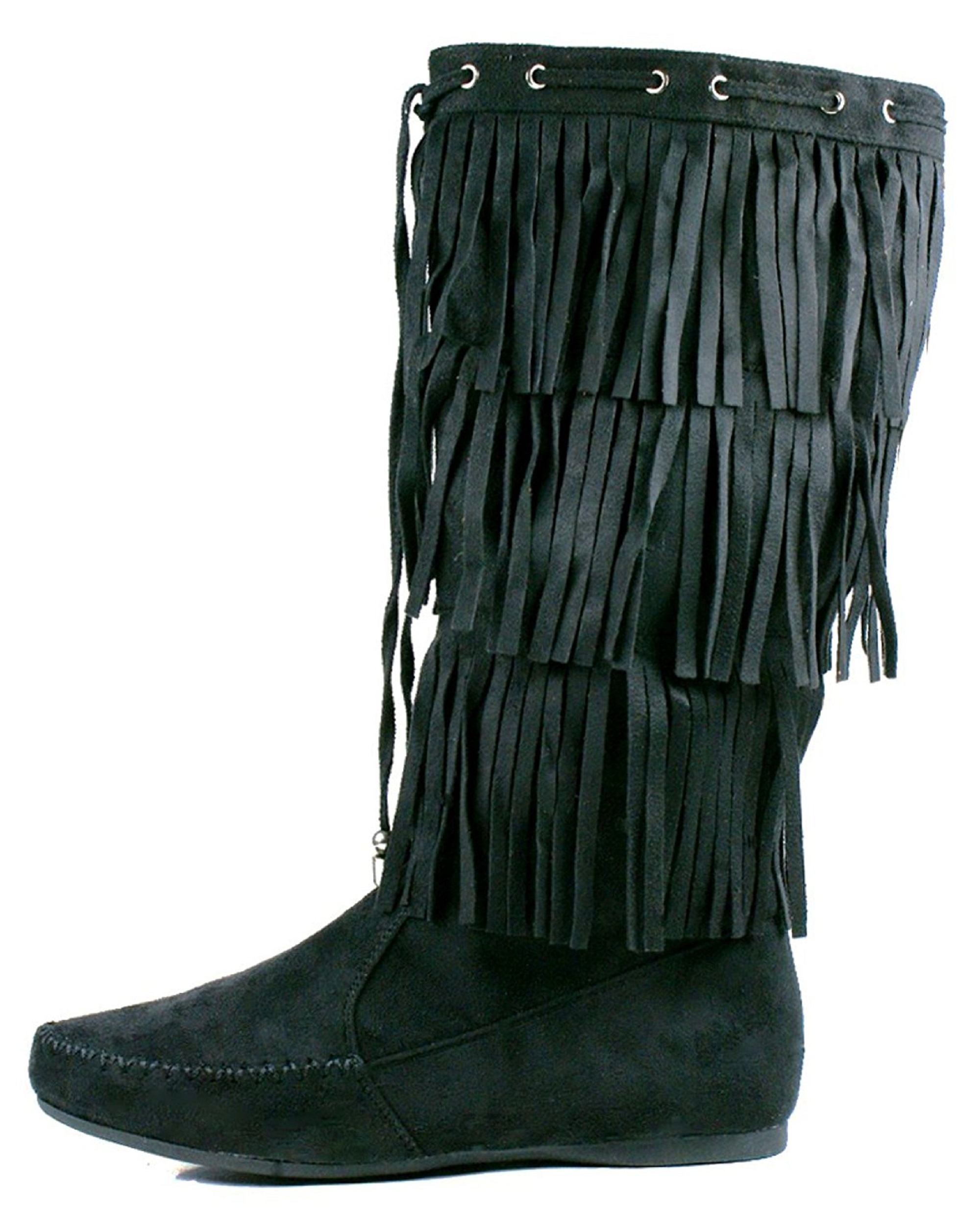 4da7e9711 Womens Fringe Boots Faux Suede Moccasin Mid Calf Flat New Size 3 Tier Layer