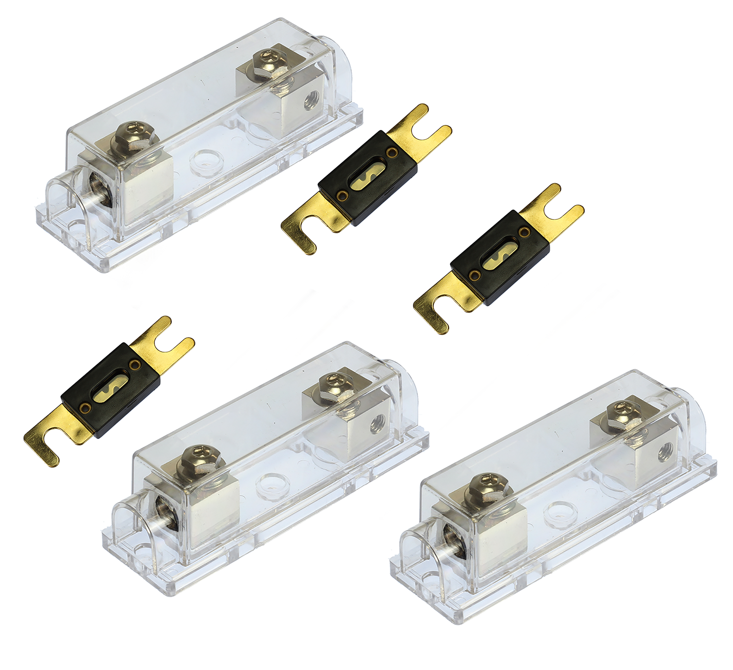 1 pc ANL Fuse Holder Nickel 1//0 2 4 GA AWG Gauge Inline with 5 pcs 300A Fuses