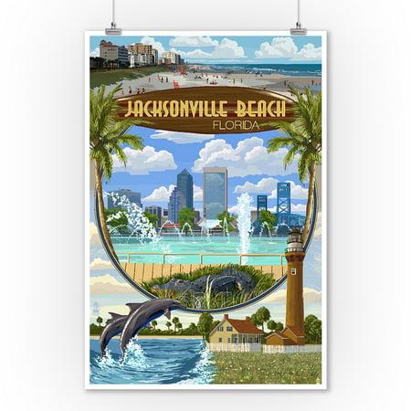 Jacksonville Beach, Florida - Montage Scenes - Lantern Press Artwork (9x12 Art Print, Wall Decor Travel Poster) - Healthy Halloween Jacksonville Beach