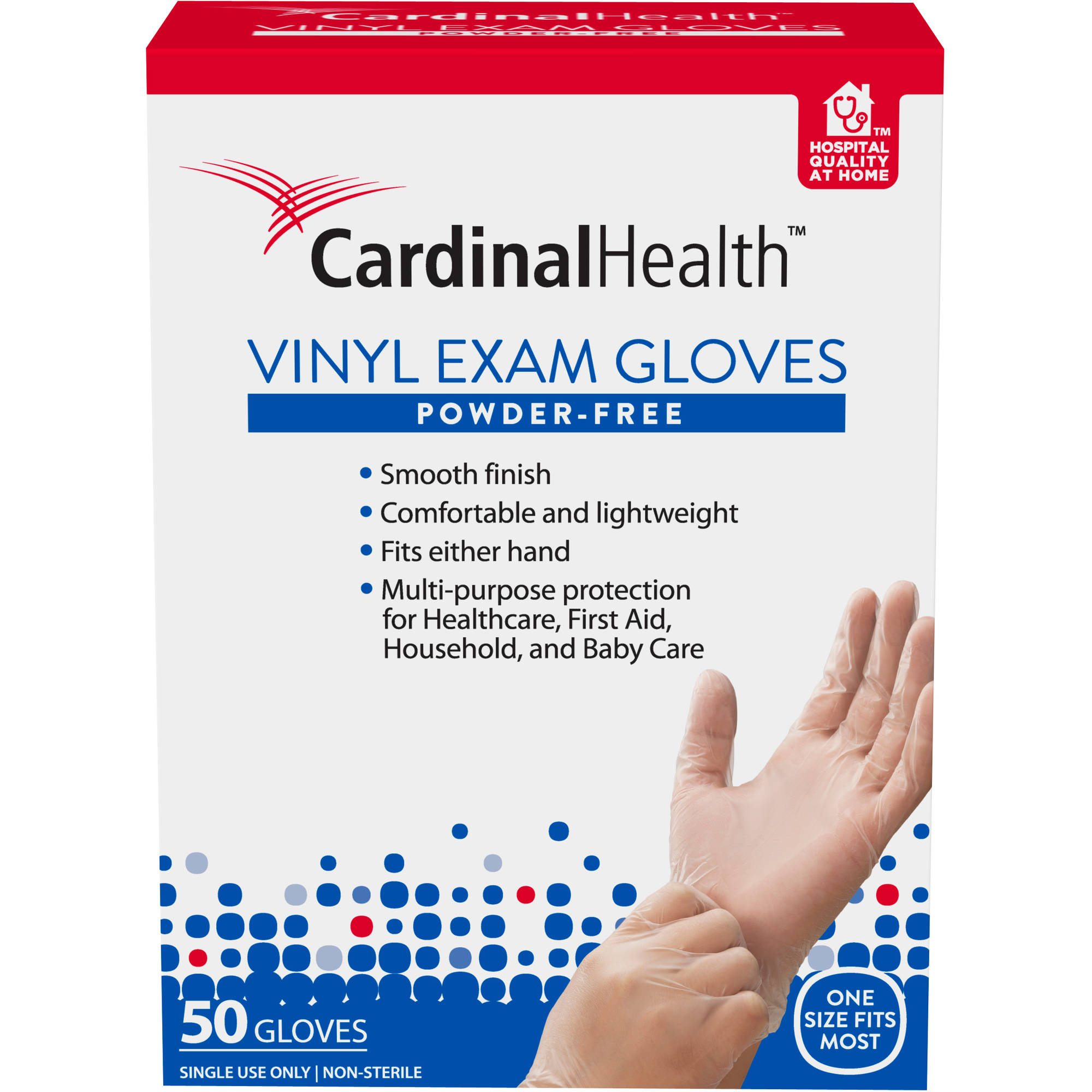 Cardinal Health Powder-Free Vinyl Exam Gloves, 50 count