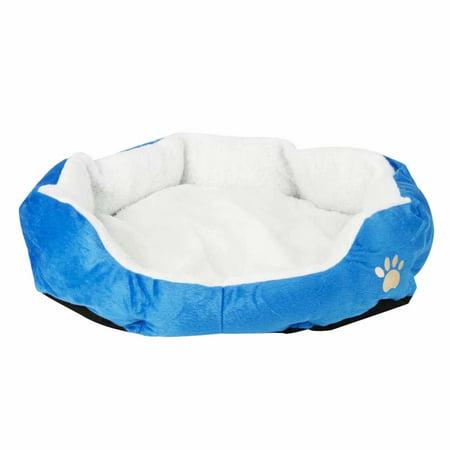 Pet Self-Warming Corduroy Pet Bed with Pad Sky Blue S (Sky Blue Corduroy)