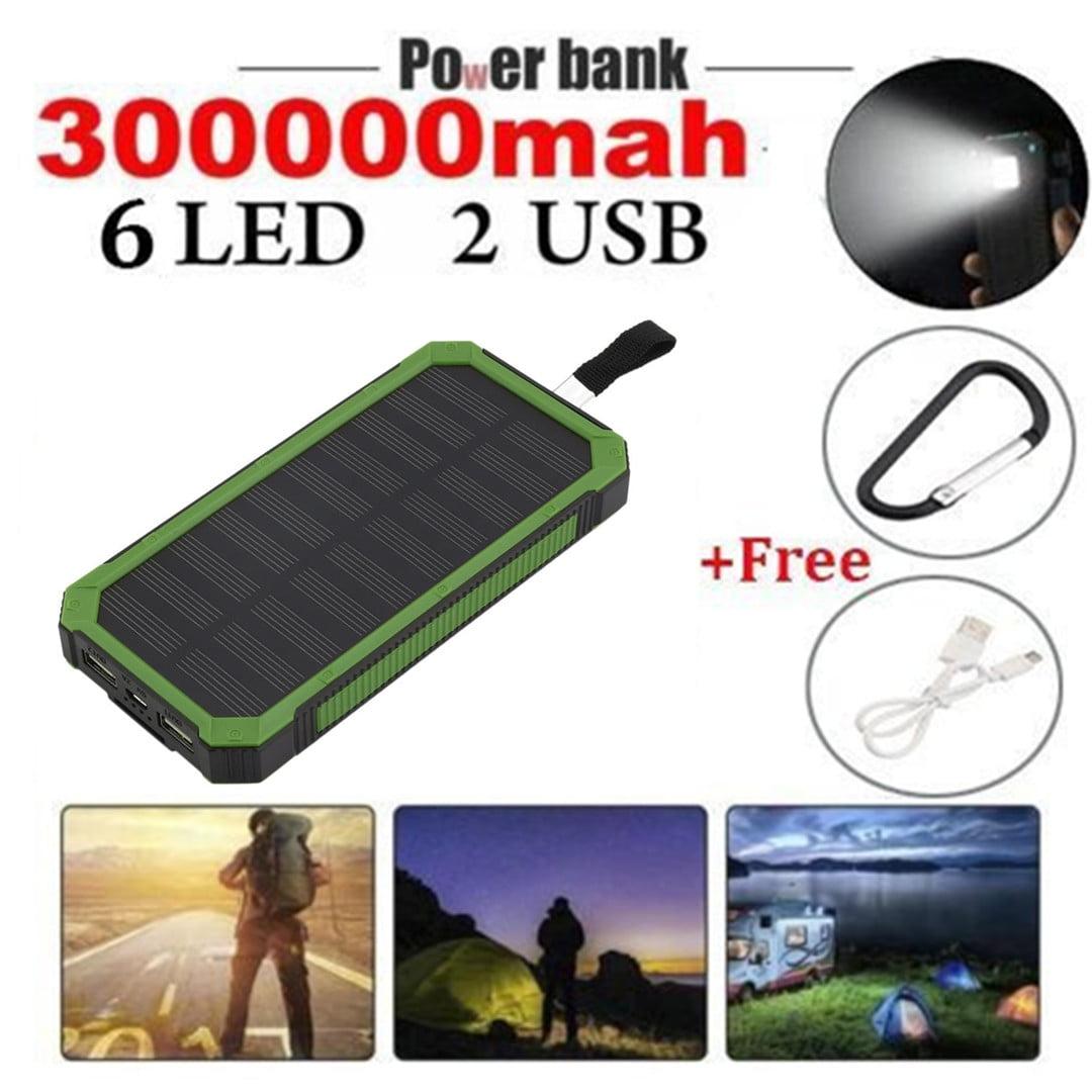 300000mAh Portable Waterproof Solar c harger Dual USB External Battery p ower bank