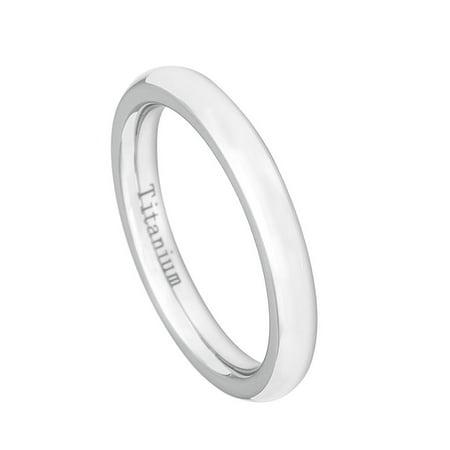3mm - For Men or Ladies High Polish Classic Domed White Titanium Wedding Band Ring Domed Titanium Wedding Band