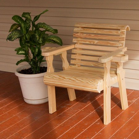 Amish Heavy Duty 600 Lb Roll Back Pressure Treated Patio Chair With Cupholders (Amish Pine Furniture)