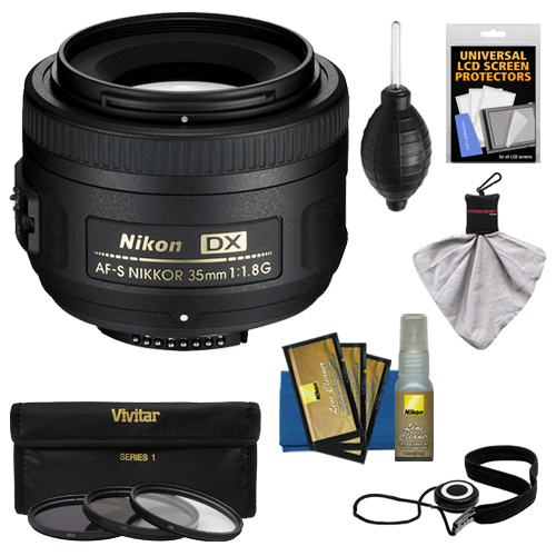 Nikon 35mm f/1.8 G DX AF-S Nikkor Lens + 3 UV/CPL/ND8 Filters + Accessory Kit for D3200, D3300, D5300, D5500, D7100, D7200 Cameras