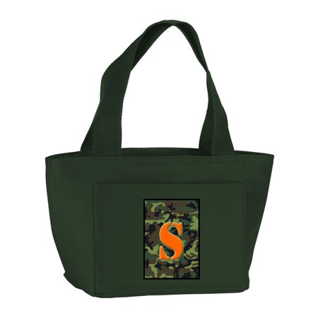 Letter S Monogram - Camo Green Zippered Insulated School Washable and Stylish Lunch Bag Cooler CJ1030-S-GN-8808