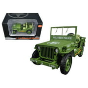 American Diorama 77406 1 by 18 Scale Diecast US Army WWII Jeep Vehicle Military Police Green Model Car