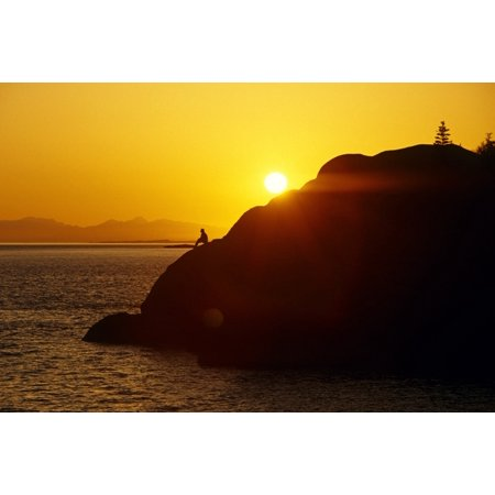 Posterazzi Silhouette Of Person On Rock Turnagain Arm Sc Ak Canvas Art - Chris Arend  Design Pics (34 x