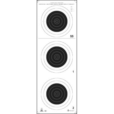 25 Pcs of Official NRA Small Bore Rifle 100-Yard Target (A-25) Printed on official NRA heavyweight (Tag) paper. Consists of 3 bull's-eyes on target. Size: 14
