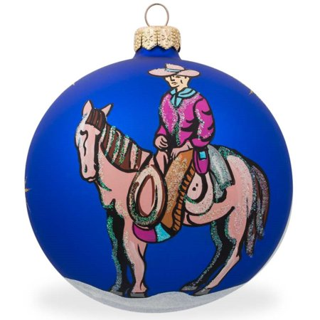 Cowboy on Horse Glass Ball Christmas Ornament 4 Inches](Cowboy Christmas Ornaments)