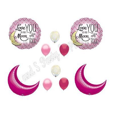 Love You To Moon And Back Pink Gold Birthday Baby Shower Balloons