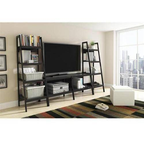 Ladder TV Stand and Bookcase 3 Piece Entertainment Center Bundle for TVs up to 65;