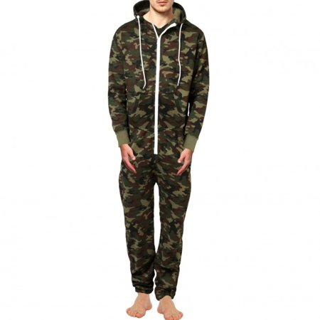 Men's Fashion Onesie Printed Playsuit Jumpsuit OverAll Camo Green: Small