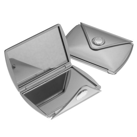 2 Folding Dual Travel Mirrors Silver Compact Case Pocket