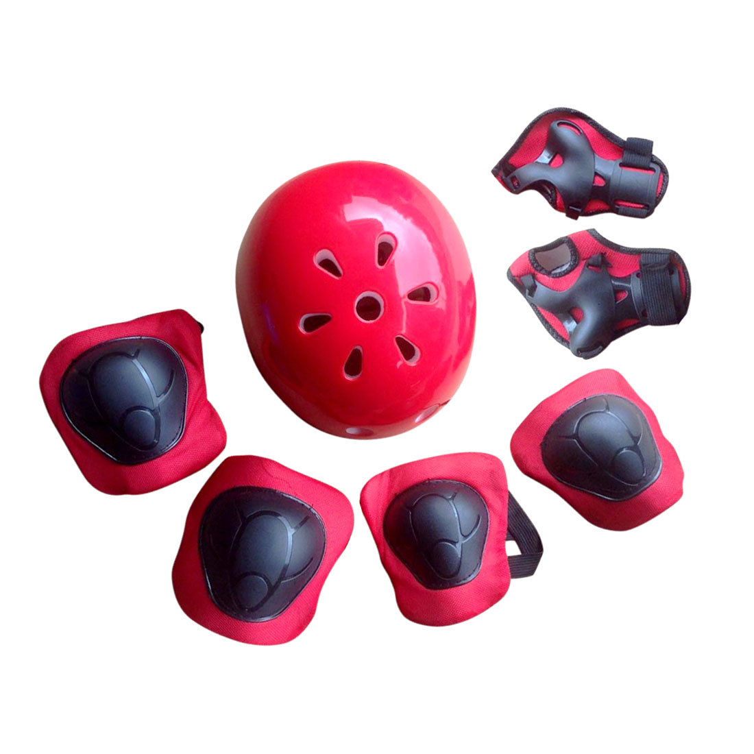 7pcs Size M Kids Protective Gear Set Mine Shaped Elbow Wrist Knee Pads and Plum Blossom Helmet Sport Safety Protective... by