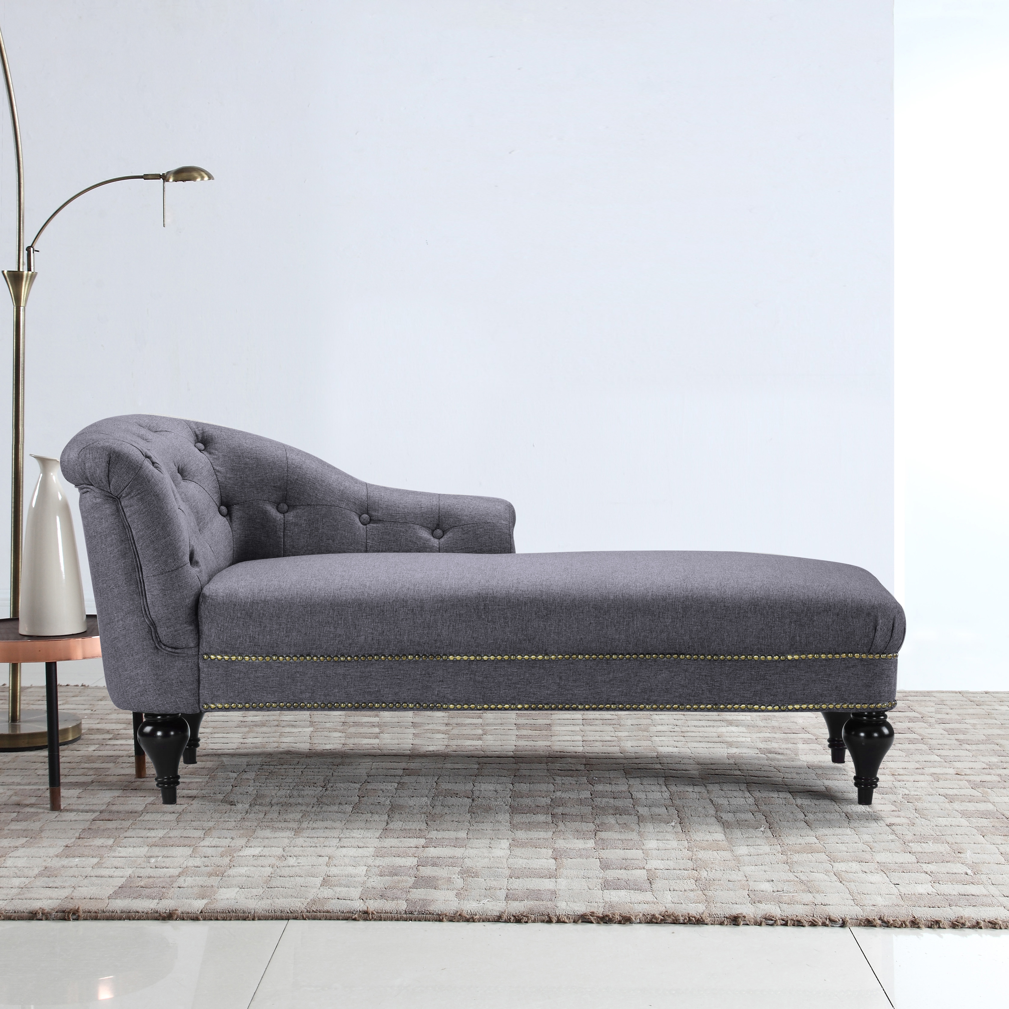 Classic Tufted Button Linen Fabric Living Room Chaise Lounge with Nailhead Trim, Light Grey