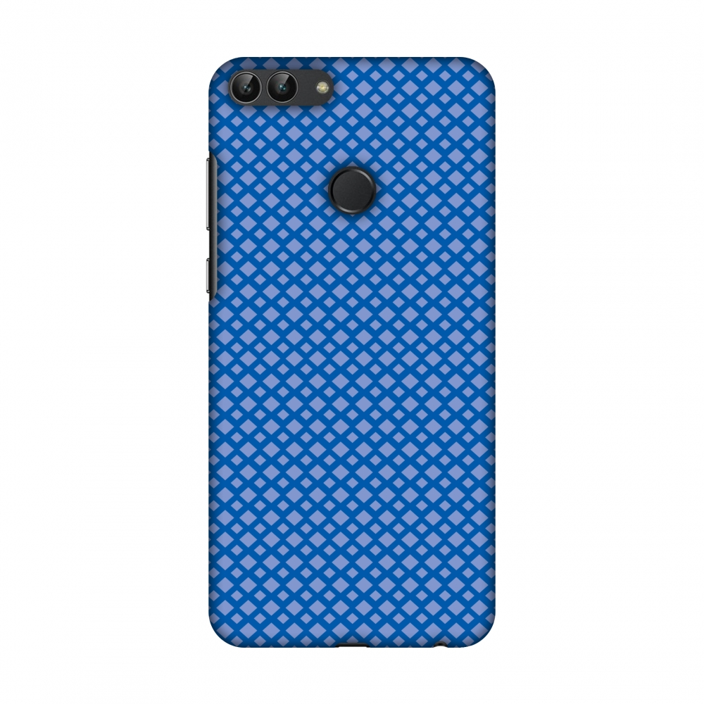 Huawei Enjoy 7S Case, Huawei P Smart Case - Carbon Fibre Redux Coral Blue 7,Hard Plastic Back Cover, Slim Profile Cute Printed Designer Snap on Case with Screen Cleaning Kit