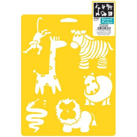 Plaid Delta Stencil Mania, 7 by 10-Inch, Wild Animals