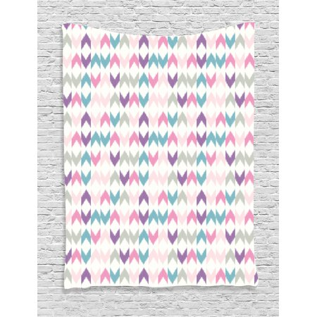Geometric Decor Tapestry, Oriental Chevron Ikat Motif with Eastern Influences Boho Art Print, Wall Hanging for Bedroom Living Room Dorm Decor, 40W X 60L Inches, Violet Pink Teal, by Ambesonne