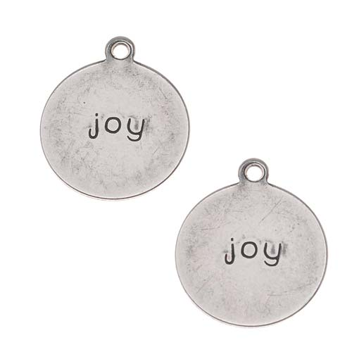 Antiqued Silver Plated Round Message Charms 'Joy' 12mm (2)