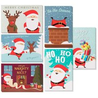 48-Pack Merry Christmas Holiday Greeting Card - Happy Holidays Xmas Cards in 6 Cute Santa Claus Designs, Bulk Assorted Festive Winter Holiday Cards with Red Envelopes, 4 x 6 Inches