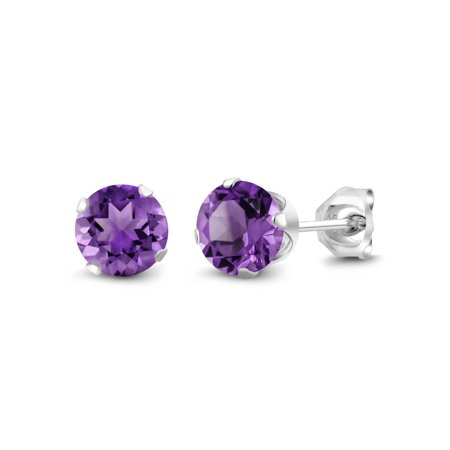 1.00 Ct Round 5mm Purple Amethyst Gemstone 925 Sterling Silver Stud Earrings
